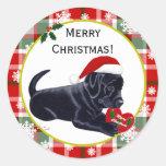 Black Labrador Retriever Christmas Snowflake Round Stickers