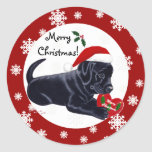 Black Labrador Retriever Christmas Snowflake Round Sticker