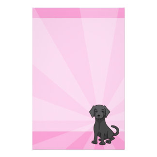 Black labrador retriever cute puppy dog cartoon custom stationery