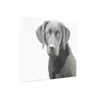 Black Labrador Retriever Dog Oil Painting Gallery Wrap Canvas
