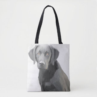 Black Labrador Retriever Dog Oil Painting Tote Bag