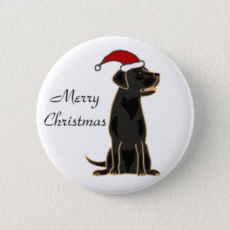 Black Labrador Retriever in Santa Hat 6 Cm Round Badge