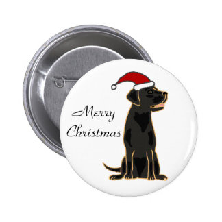 Black Labrador Retriever in Santa Hat 6 Cm Round Badge