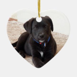 Black Labrador Retriever Puppy Ceramic Heart Decoration