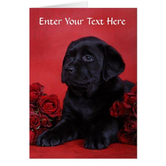 Black Labrador Retriever Puppy Dog Greeting Card