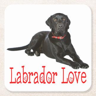 Black Labrador Retriever Puppy Dog Red Love Square Paper Coaster