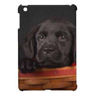 Black labrador retriever puppy in a basket cover for the iPad mini