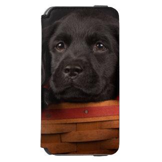 Black labrador retriever puppy in a basket incipio watson™ iPhone 6 wallet case