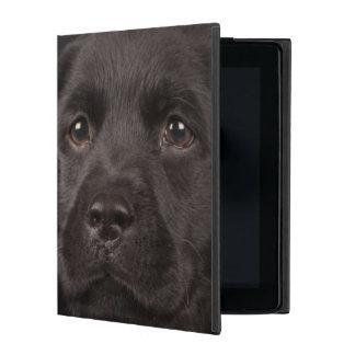 Black labrador retriever puppy in a basket iPad folio case