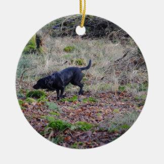 Black Labrador Retriever Round Ceramic Decoration