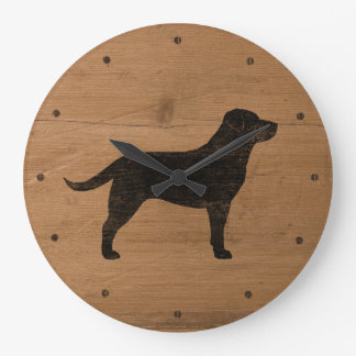 Black Labrador Retriever Silhouette Large Clock