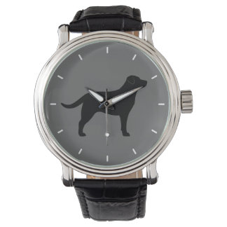 Black Labrador Retriever Silhouette Watches