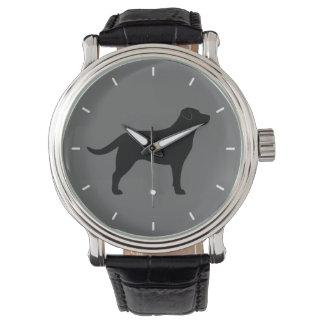 Black Labrador Retriever Silhouette Watches
