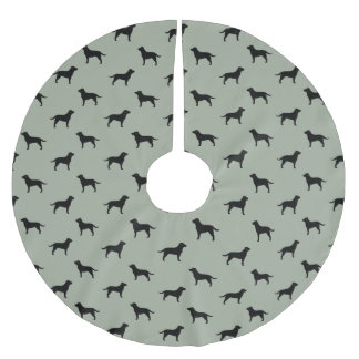 Black Labrador Retriever Silhouettes Pattern Brushed Polyester Tree Skirt