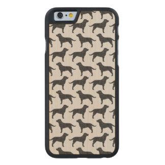 Black Labrador Retriever Silhouettes Pattern Carved® Maple iPhone 6 Slim Case