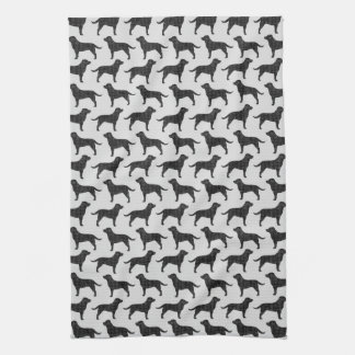 Black Labrador Retriever Silhouettes Pattern Kitchen Towels