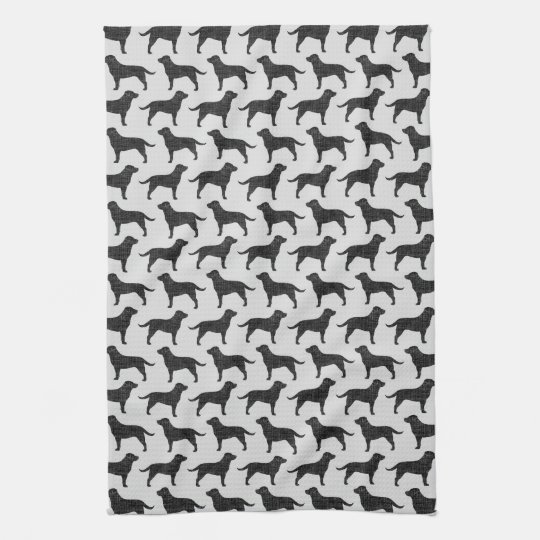 Black Labrador Retriever Silhouettes Pattern Tea Towel