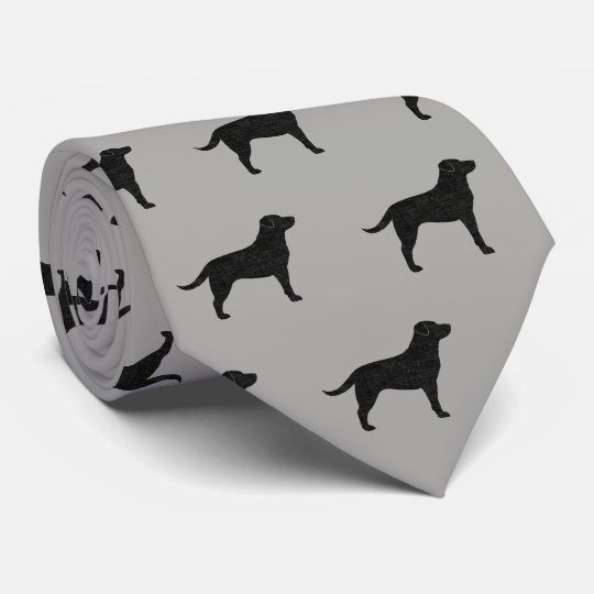 Black Labrador Retriever Silhouettes Pattern Tie