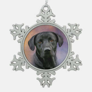 Black Labrador Retriever Snowflake Pewter Christmas Ornament