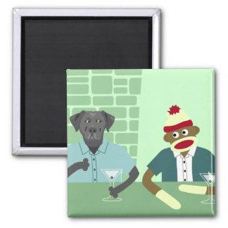 Black Labrador Retriever & Sock Monkey Square Magnet
