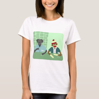 Black Labrador Retriever & Sock Monkey T-Shirt
