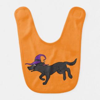 Black Labrador Retriever with Witch Hat Baby Bib