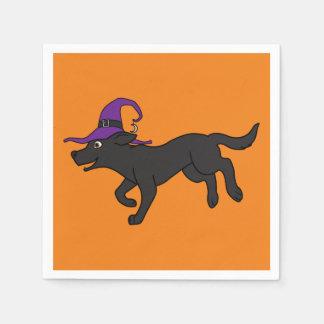 Black Labrador Retriever with Witch Hat Disposable Serviettes