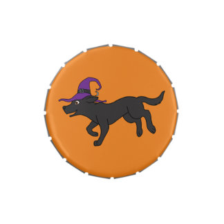 Black Labrador Retriever with Witch Hat Jelly Belly Candy Tin