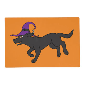 Black Labrador Retriever with Witch Hat Laminated Placemat