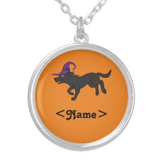 Black Labrador Retriever with Witch Hat Round Pendant Necklace