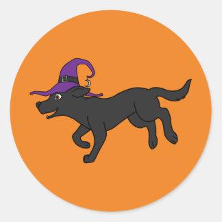 Black Labrador Retriever with Witch Hat Round Sticker
