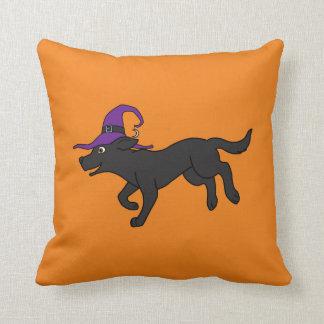 Black Labrador Retriever with Witch Hat Throw Cushion