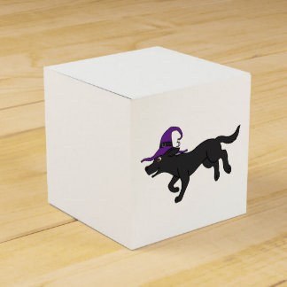 Black Labrador Retriever with Witch Hat Wedding Favour Boxes