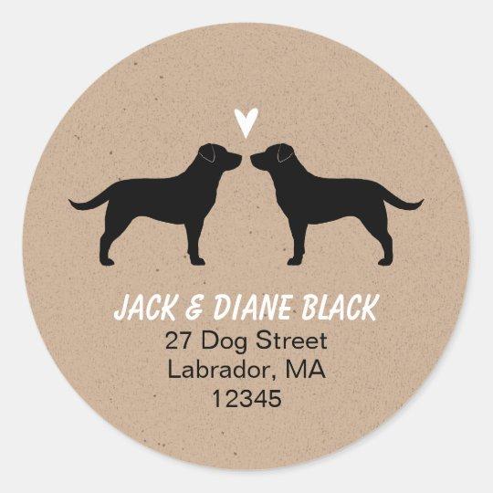 Black Labrador Retrievers Return Address Classic Round Sticker