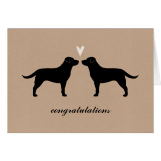 Black Labrador Retrievers Wedding Congratulations Card