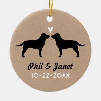 Black Labrador Retrievers with Heart and Text Round Ceramic Decoration