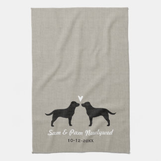 Black Labrador Retrievers with Heart and Text Tea Towel