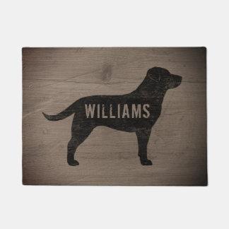 Black Labrador Silhouette Personalized Doormat