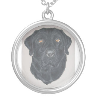 Black Labrador Silver Plated Necklace
