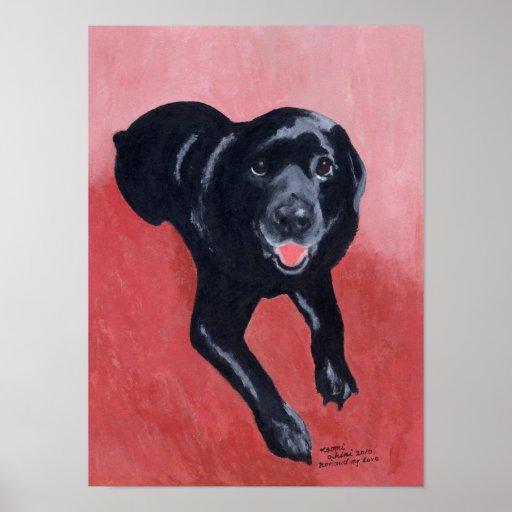 Black Labrador Smiling Artwork Poster