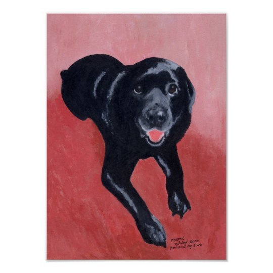 Black Labrador Smiling Artwork Poster