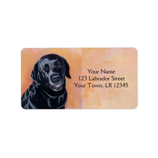 Black Labrador Smiling in the light Label