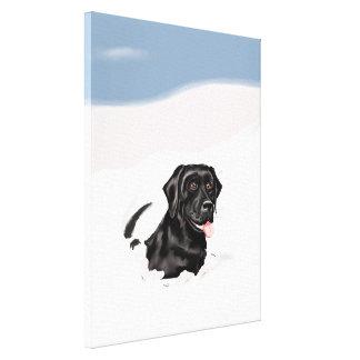 Black Labrador Snow Bounder Gallery Wrap Canvas