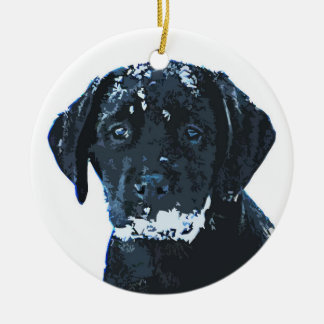 Black Labrador - Snow Crystals Ceramic Ornament