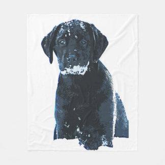 Black Labrador - Snow Crystals Fleece Blanket
