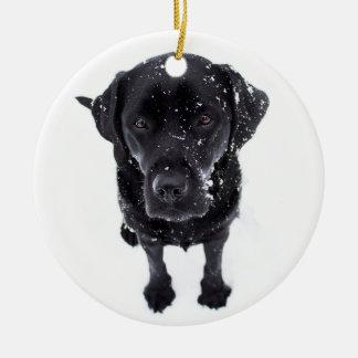 Black Labrador - Snow Dog Christmas Ornament