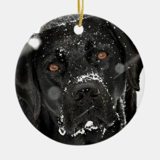 Black Labrador - Snow Globe Christmas Ornament