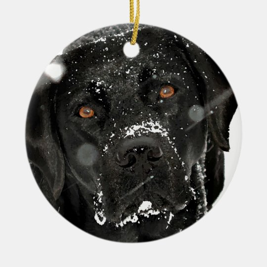 Black Labrador - Snow Globe Christmas Ornament