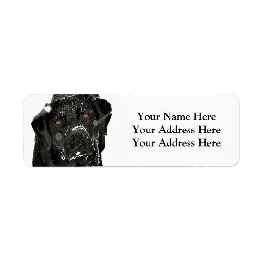 Black Labrador - Snow Globe Return Address Label