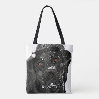 Black Labrador - Snow Globe Tote Bag